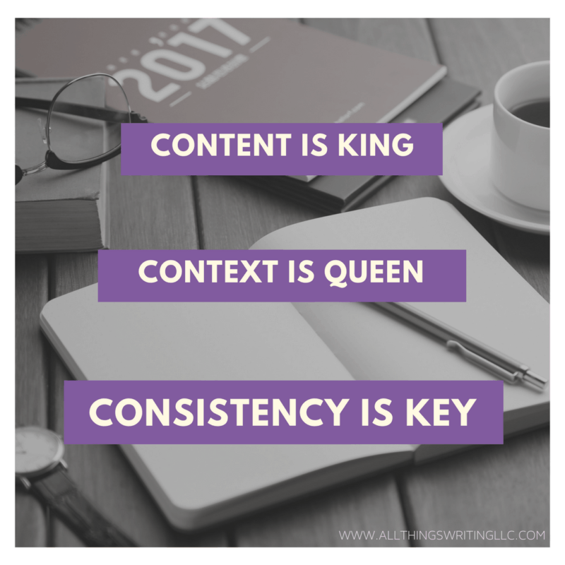 Content is King, Context is Queen, Consistency is Key, All Things Writing, ATW, LLC, Content Marketing